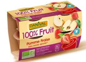 Dessert de fruits pomme fraise Danival 4*100g
